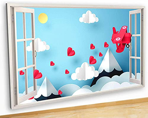 Pegatinas de pared Wall Stickers Origami Aeroplane Love Hearts Canvas Picture Poster Art Room G511