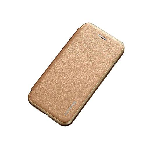 【ガラスフィルム付き】 iPhone 7 ケース 手帳型 横開き 二つ折り PUレザー 耐衝撃 カード収納 スタンド機能 マグネット 磁気吸着 軽量 薄型 ブランド 正規品 (ゴールド)