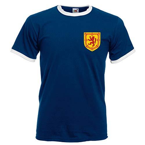 Print Me A Shirt Camiseta Fútbol Personalizable para Adultos de la Selección de Escocia, Camiseta Azul Escocia, Camiseta Selección Escocesa