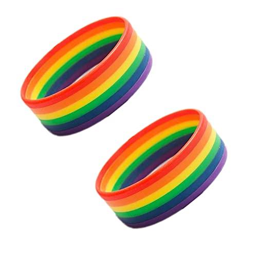 NUCHE 2 pulseras de arco iris LGBT ajustables hechas a mano con orgullo trenzado para gay y lesbiana arco iris orgullo pulsera regalos