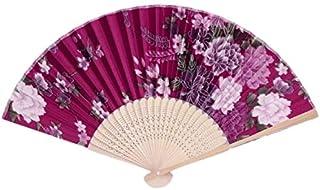 YUESHAO Abanico Plegable Colorido bambú Plegable Mano Ventilador Flor Floral Boda Baile Fiesta decoración