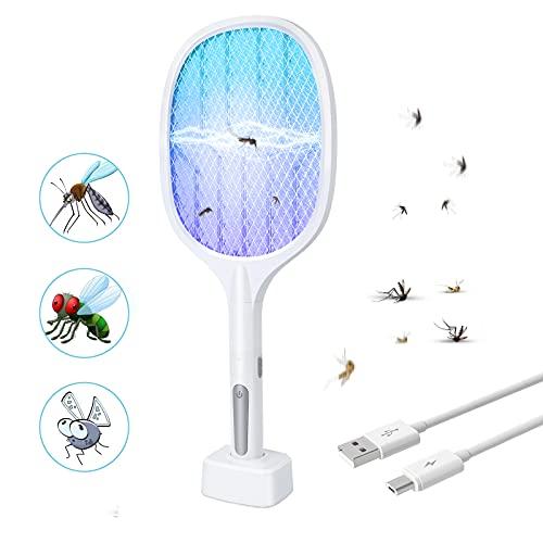 AmzKoi Elektrische Fliegenklatsche,USB Aufladbar Fliegenklatsche Elektrische mückenklatsche Extra Stark Fliegenfänger mit Ladebasis,Moskito Killer Bug Zapper für Mücken, Fliegen, Bienen, Motten