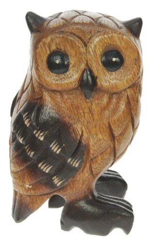 Namesakes Búho de madera - tallado a mano de madera - figura bonita - escultura - talla hermosa - decoración para el hogar - tamaño altura 13 cm