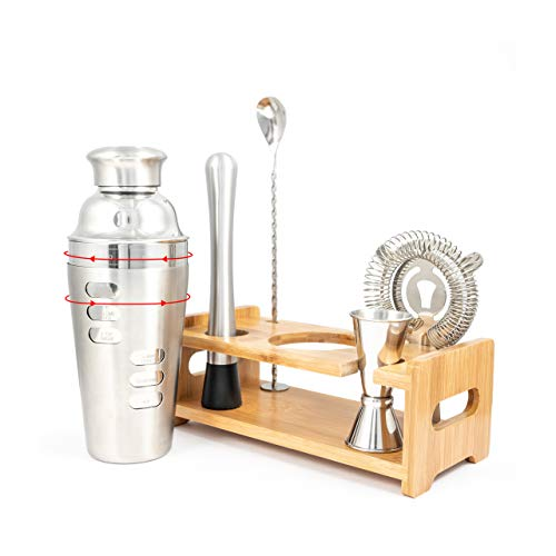 FABV Cocktail Making Set with Rotating Recipe Shaker and Stand - Gift Ready Full Bartender Kit with Stand - Drinks Mixer Shaker Set with Bar Accessories and Shaker with Recipes on side