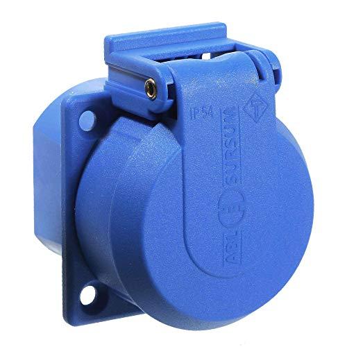 as - Schwabe Schutzkontakt-Einbausteckdose 230 V – Einbau-Steckdose mit selbstschließendem Sicherheitsklappdeckel für Außen, Innen & Baustelle – Einbau-Steckdose IP54 – Made in Germany – Blau I 45085