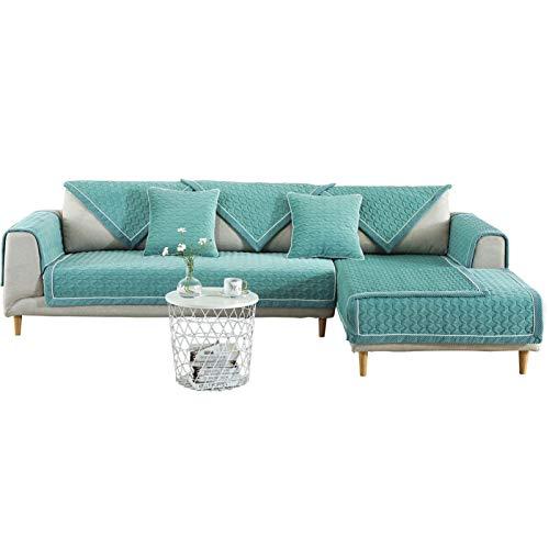 Jklt Práctica funda de sofá de invierno antideslizante para sofá, cojín cálido de terciopelo de cristal grueso (color: verde, tamaño: 90 x 240 cm)