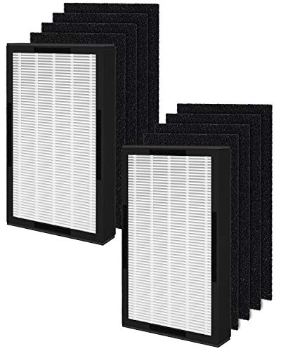 Fil-fresh 2 Pack FLT4100 HEPA Replacement Filter E Compatible with Germ Guardian AC4100, AC4100CA, AC4150BL Air Purifier, Plus 8 Carbon Pre-filter
