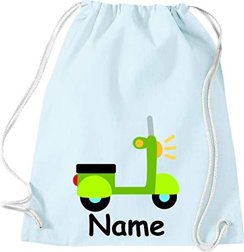 Shirtinstyle Turnbeutel, Roller Motorroller mit Wunschnamen, Kinder, Stoffbeutel, Kinderrucksack, Jute, Gymsack, Farbe Pastellblau