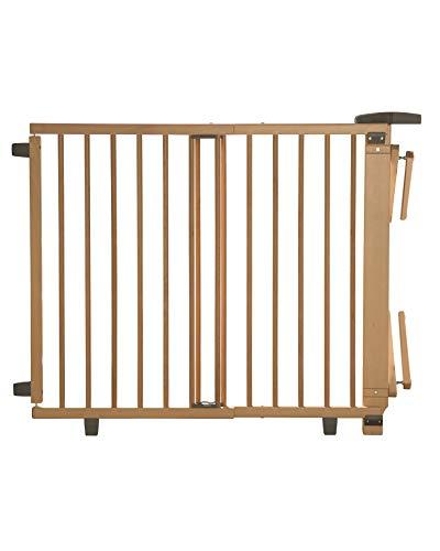 Geuther Treppenschutzgitter für Baby, Kinder und Hund, Absperrgitter für Treppe in Holz, natur, 67 - 107 cm, Schutzgitter für Treppen zum klemmen und bohren