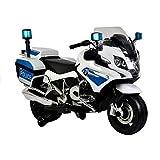 ATAA Moto de policía 12v BMW R1200 - Blanco Moto eléctrica para niños de policía BMW R1200 con Sirena