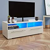 WestWood LED TV Unit Stand | High Gloss Front Matt Body Cabinet White