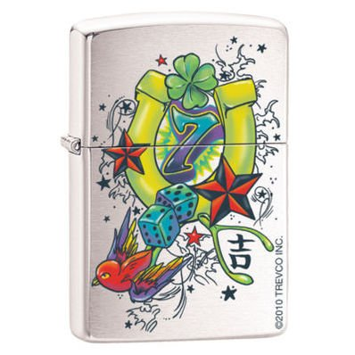 Zippo quotAs Luck Would Have Itquot Brushed Chrome Lighter 1725