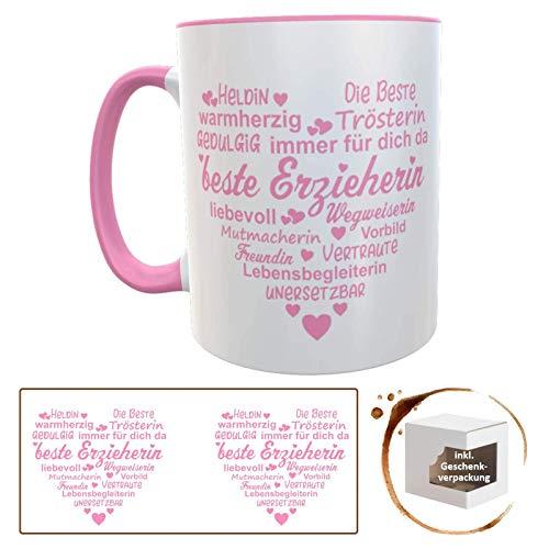 Danke-Tasse mit Herz für Erzieherin oder Kindergärtnerin inkl. Geschenkverpackung, Danke Sagen, Sprüche, Abschiedsgeschenk, Geburtstagsgeschenk für KiGA (Herz rosa)