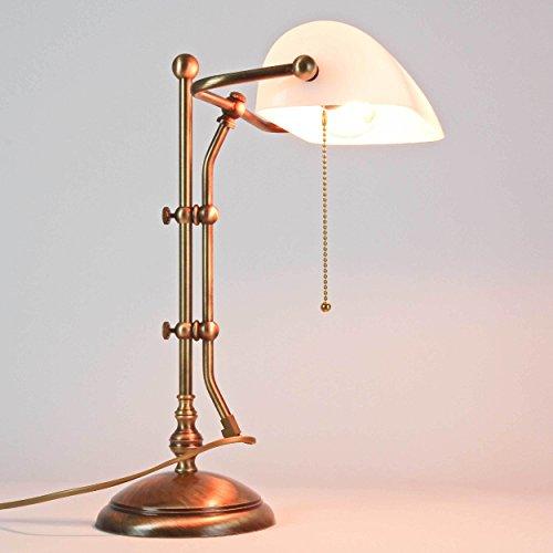 Bankerlampe Bronze Glänzend Echt-Messing Glasschirm Zugschalter Premium Tischleuchte Schreibtisch Wohnzimmer