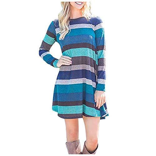 DNOQN Damen Kleid Freizeitkleider Blusenkleid Damen Mode Gestreift Plaid Gedruckt Lange Ärmel Tasche Swing Tunika KleidFransenkleid Silvesterkleid Pulloverkleid Shirtkleid