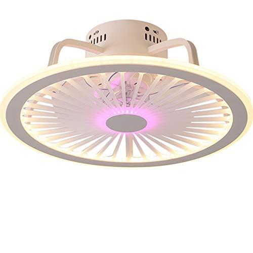 Yogafa De Techo del LED con el Ventilador, silencioso rotación, Control Remoto de la lámpara Regulable, Dormitorio y Sala de Estar de iluminación Invisible en Abanico de la lámpara, púrpura,50cm