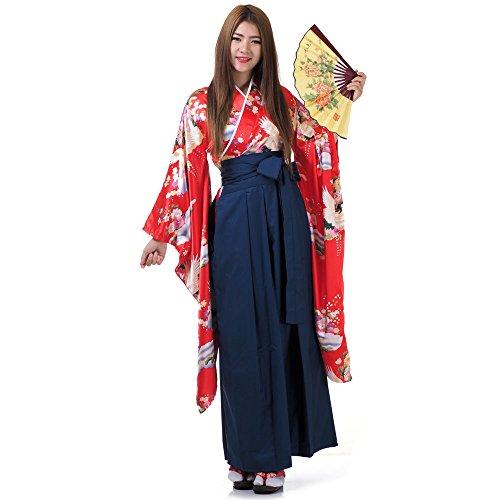 Princess of Asia Japan Damen Geisha Samurai Kimono Outfit Kostüm S M 36 38 40 (Rot & Blau)