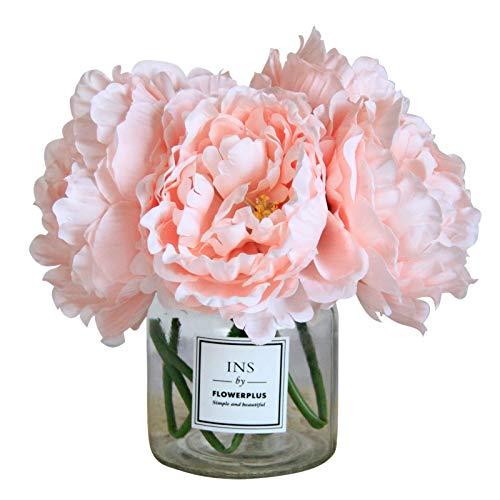 Tinsow Künstliche Pfingstrose für Heimdekoration, 5 Stück künstliche Pfingstrosen für Hochzeitsdekoration, Seidenblumenstrauß (Rosa, 5)