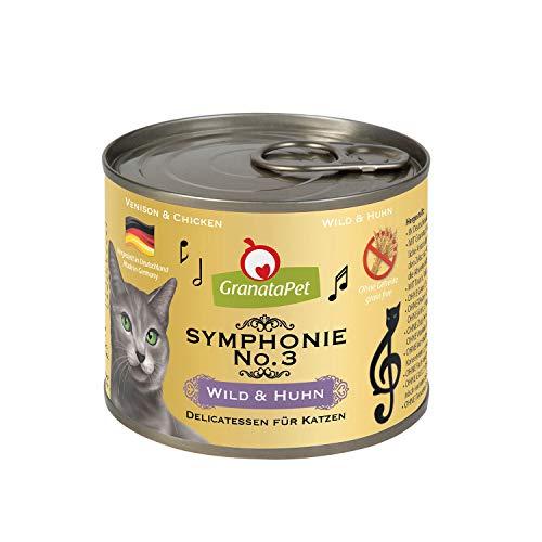 GranataPet Symphonie No. 3 Wild & Pollo, alimento para Gatos sin Cereales ni aditivos de azúcar, Filet en Jalea Natural, Delicado alimento húmedo para Gatos, 6 x 200 g