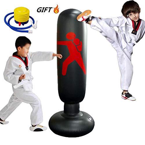 xingxinqi Kids Inflatable Punching Bag 160cm Training Bag Kickboxing Bag Inflatable Free-Standing Fitness Boxing Bag with Air Pump