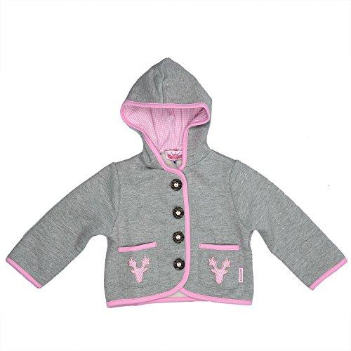 Eisenherz Baby Mädchen Kapuzenjacke Sweatjacke mit Geweih, in grau und rosa - fescher Trachtenlook in Größe 86/92