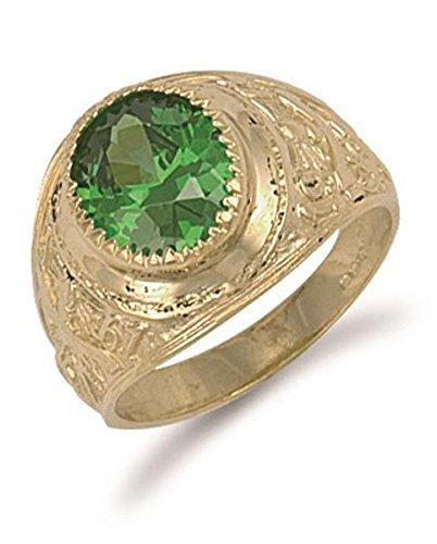 College-Ring Gelbgold Grün
