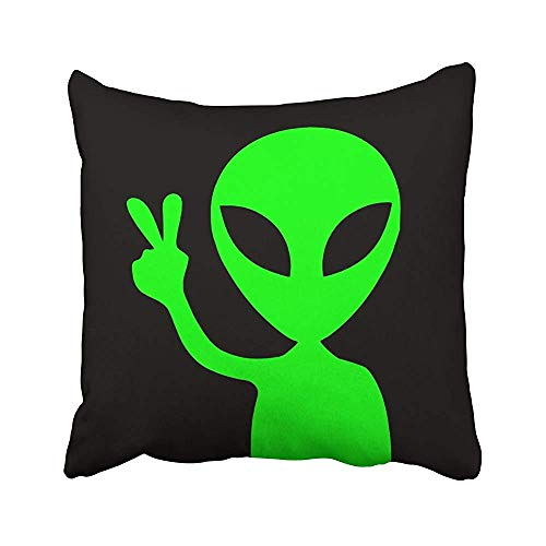 N/C Peace Sign Alien Victory Gesture Throw Pillow Covers Decorative Square Cushion Cases 18 x 18 Inch/45 x 45cm