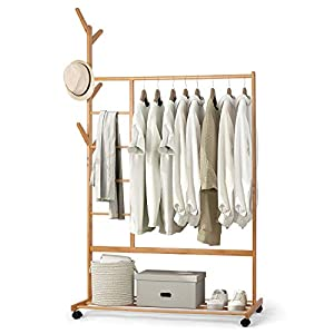amzdeal Perchero de bambú con diseño de Perchero Lateral con Compartimento para Pantalones y Estante Inferior con 6 Ganchos para Chaquetas Vestidos Paraguas, Color bambú Natural