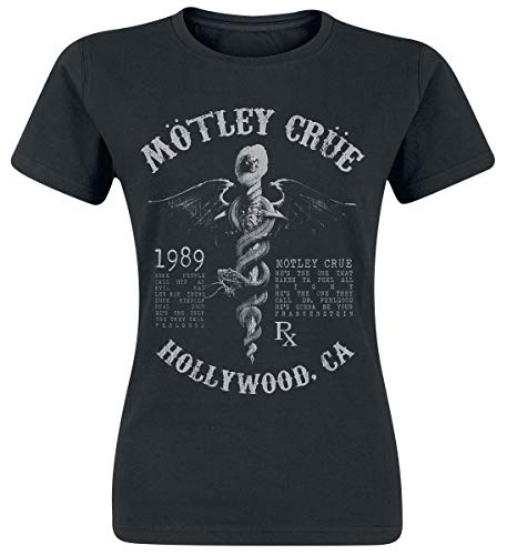 Mötley Crüe Faded Feel Good Lyrics Mujer Camiseta Negro, Regular