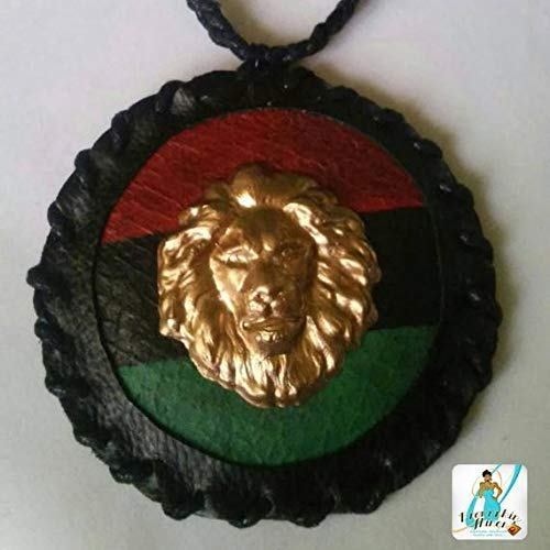 Faux Leather RBG, Lion Head Medallion with Handbraided Necklace - African American Flag - 90s Inspired - Pan African Flag - EcoResin Lion