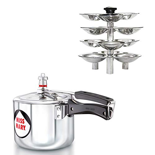 Hawkins Miss Mary Pressure Cooker with Idli Stand (Silver, 3 LTR)