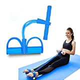 Pedal Resistance Band, 4 Tube Pedal Ankle Puller Multi-Function Leg Tummy Training Foot Sit-Up Pedal Elastic Pull Rope Fitness Equipment,For Abdomen/Waist/Arm/Leg Stretching Slimming Training (blue)