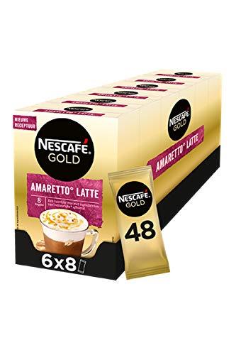 Nescafé Gold Amaretto Latte oploskoffie – 6 doosjes à 8 zakjes