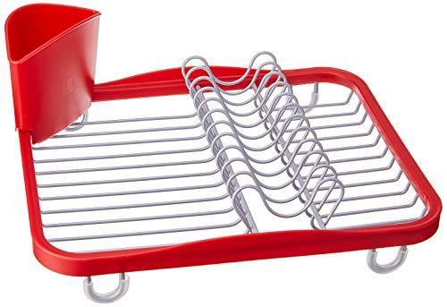 Umbra Sinkin Abtropfgestell aus Metall mit Abnehmbarem Besteckkorb – Passt in Spülbecken oder auf Arbeitsfläche, Kompakt und Handlich, Rot / Nickel