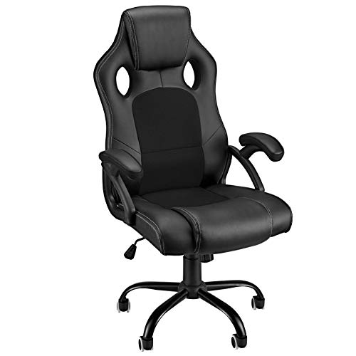 Gaming Chair Computer Chairs High Back Tall Video Game Chair Racing Office Ergonomic Armrest Comfortable PU Leather Mesh Gaming Chare Adjustable Swivel Silent Wheels for Adults/Teens/Kids, Black 02