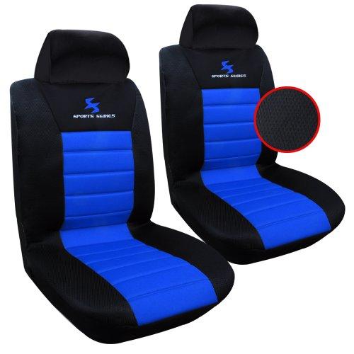 WOLTU AS7256-2 Set Coprisedili Anteriori Auto 2 Posti Seat Cover Protezioni Universali per Macchina Tessuto Poliestere Nero/Blu