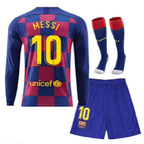 ZamZam New 20/21 Barcelona Messi Blue Jersey + Shorts + Socks Soccer Long Sleeve Youth Kids Sizes (4-12 Years Old) (Medium)