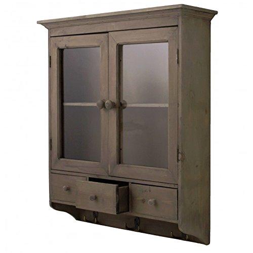 L'Héritier Du Temps Opbergkast of kruidenrek voor aan de muur, van glas, met laden van hout en haken van ijzer, 16,5 x 63,5 x 70 cm