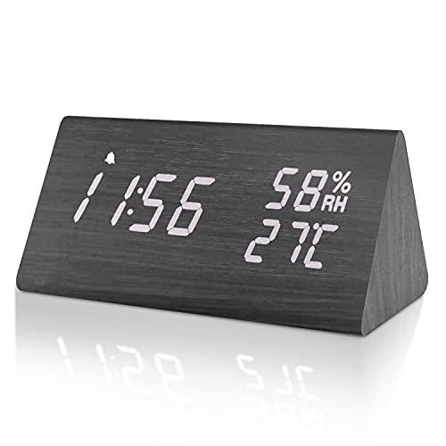 Besvic reveil numérique Bois, LED Horloge de Bureau avec Fonction mémoire, réveil Design pour Chambre et Salon, Mode Snooze, température et humidité, luminosité réglable
