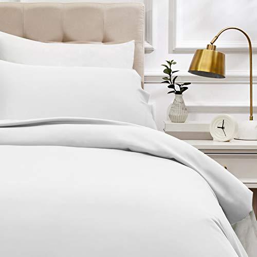 Amazon Basics - Juego de funda nórdica de satén de algodón de 400 hilos - 135 x 200 cm/ 50 x 80 cm x 1, Blanco