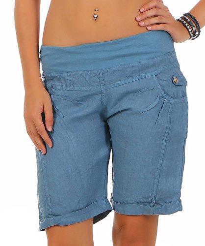 Malito Pantalón Cortos de Tela de Lino Pantalón 3001 Mujer (XXL, Azul)