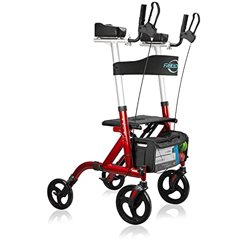 """FreeAction Upright Rollator Walker, Stand Up Folding Rollator Walker with 10"""" Front Wheels, Padded Armrests, Mobility Walking Aid with Seat and Backrest for Elderly, Seniors and Adults"""