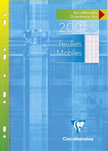 Clairefontaine 1751C - Un étui carton 200 pages Feuillets mobiles perforés 21x29,7 cm 90 g grands carreaux