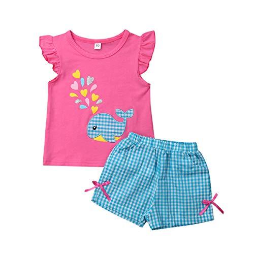 Conjunto de 2 piezas de ropa de moda para niños y niñas 6M-5T.