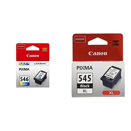 Canon CL-546 Cartucho de Tinta Original Tricolor para Impresora de Inyeccion de Tinta Pixma + PG-545XL Cartucho de Tinta Original Negro XL para Impresora de Inyeccion de Tinta Pixma