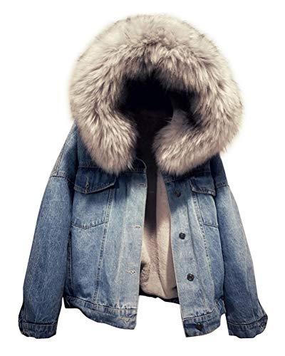 Yesgirl Gefütterte Jeansjacke mit Fellkapuze Winter Mantel Winterjacke Kurz Outwear Denim Jacke Langarm Kapuzenjacke A Grey Small