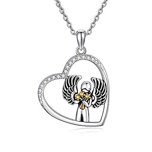 HARMONY BOLA 925 Sterling Silver Angel Holds Sunflower Necklace Heart...