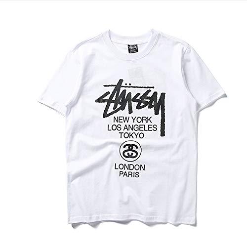 MONA@FILTER Chico Hombres Clásico Stuss-y tee Shirt Sudadera Adolescente Sudadera Tops Casual Tops Camiseta,Blanco,M