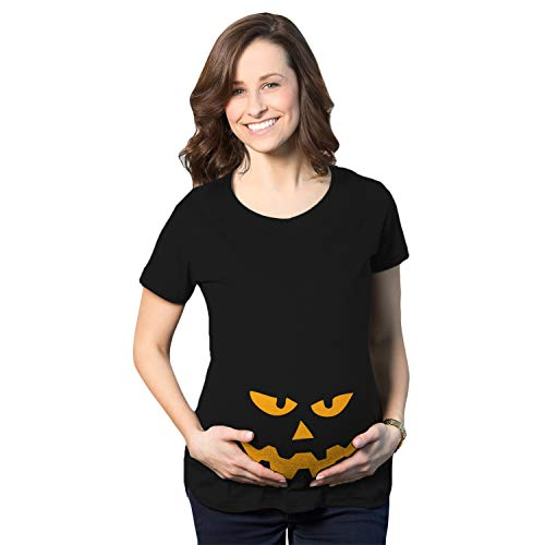 Crazy Dog Tshirts - Maternity Triangle Nose Pumpkin Face Halloween Pregnancy Announcement T Shirt (Black) - L - Femme