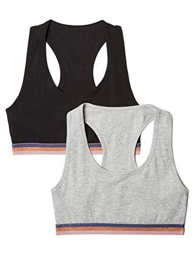 Amazon Brand - Iris & Lilly Strapless Bra Crop Top, Multicolour (Black/Melange), 34B (size: Medium), Pack of 2